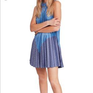 Free People Pleated Blue Mini Dress